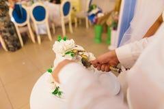 La sposa e lo sposo tengono un coltello e tagliano la torta nunziale Immagine Stock