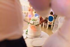 La sposa e lo sposo tengono un coltello e tagliano la torta nunziale Fotografia Stock
