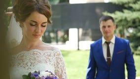 La sposa felice e lo sposo alla moda sorridenti che camminano di estate si inverdiscono il parco con il mazzo dei fiori, del danc video d archivio