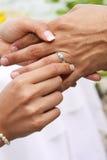 La sposa mette l'anello sullo sposo immagini stock