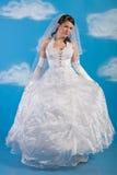 La sposa si è vestita in vestito da cerimonia nuziale bianco di eleganza Fotografia Stock