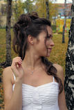 La sposa in un Birchwood Fotografie Stock Libere da Diritti