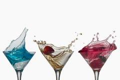 La spruzzata del cocktail libera le tazze Fotografia Stock Libera da Diritti