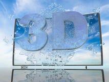 La spruzzata dell'acqua dallo schermo della TV su un fondo di un paesaggio del tramonto, con i simboli 3D e 4K, 3d rende Fotografia Stock