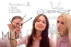 La squadra di affari scrive il programma di vendita di mlm fotografie stock