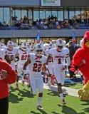 La squadra di football americano dei cardinali di Louisville cattura il campo Fotografie Stock