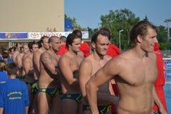La squadra nazionale australiana di Waterpolo Fotografia Stock Libera da Diritti