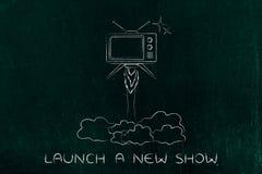 La série télévisée lance, vol de télévision comme une fusée Image libre de droits