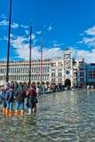 La st sommersa segna il quadrato a Venezia, Italia Immagine Stock