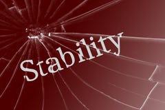 La stabilité des textes sur le verre cassé images stock