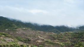 La stagione delle pioggie in montagne della provincia di Ifugao con i terrazzi del riso sistema filippine stock footage