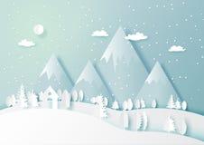 La stagione invernale con la natura bianca della foresta e della casa abbellisce il backg illustrazione di stock