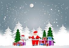 La stagione invernale con Santa ed i contenitori di regalo per il Natale condiscono, Vector lo stile di carta di arte dell'illust Fotografie Stock Libere da Diritti