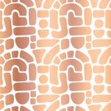 La stagnola di rame astratta modella il modello senza cuciture di vettore Blocchetti dorati di Rosa, archi, punti su bianco Fondo royalty illustrazione gratis
