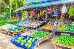 La stalla dell'agricoltore del bordo della strada nello Sri Lanka Immagine Stock
