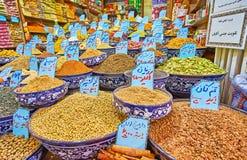 La stalle d'épice du bazar de Vakil, Chiraz, Iran Photographie stock libre de droits