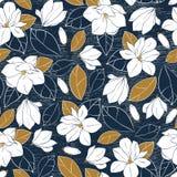 La stampa botanica con la magnolia fiorisce, germoglia e lascia nei colori profondi della senape e del blu su fondo granuloso Ill illustrazione di stock