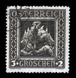 La stampa del bollo in Austria mostra Siegried dopo la battaglia con la viverna Immagini Stock Libere da Diritti