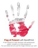 La stampa della mano sinistra nei colori polacchi della bandiera su bianco ha isolato il fondo, la celebrazione della Polonia Immagini Stock