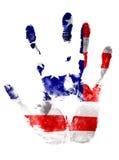 La stampa destra nei colori della bandiera di U.S.A. su bianco ha isolato il fondo Immagini Stock