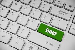La stampa fornisce il verde del bottone sulla tastiera bianca per confermare selezione del fuoco immagini stock libere da diritti