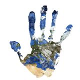 La stampa reale della mano si è combinata con una mappa di Europa del nostro pianeta Terra blu Elementi di questa immagine ammobi Immagine Stock