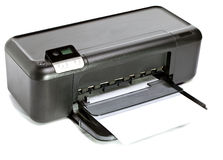 La stampante a getto di inchiostro su un fondo bianco Fotografie Stock