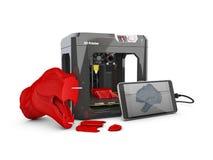 la stampatrice 3D, lo Smart Phone e 3D provano il modello illustrazione 3D Fotografie Stock Libere da Diritti
