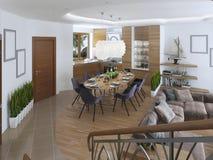 La stanza è uno studio con la cucina e area pranzante e una r vivente Fotografia Stock