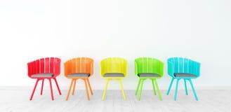 La stanza con le sedie variopinte 3d rende l'illustrazione 3d illustrazione di stock