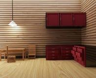 La stanza di legno della cucina interna in 3D rende l'immagine Fotografia Stock Libera da Diritti