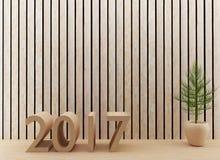 La stanza di legno interna di progettazione del buon anno 2017 in 3D rende l'immagine Fotografie Stock