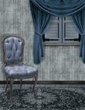 La stanza di seduta blu Fotografie Stock