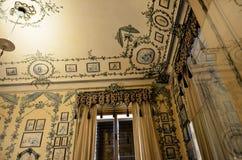 La stanza interamente ha allineato con tessuto nel palazzo imperiale di Vienna Fotografia Stock