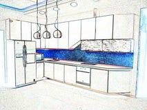 La stanza interna della cucina fotografia stock