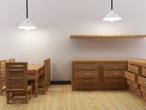 La stanza interna della cucina in 3D rende l'immagine Fotografie Stock