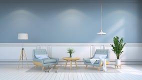 La stanza interna minimalista, furniture/3d contemporaneo rende Fotografia Stock