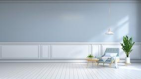 la stanza interna minimalista, la poltrona blu-chiaro sulla pavimentazione bianca e la parete blu-chiaro /3d rendono Immagini Stock