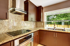 La stanza moderna della cucina con i gabinetti marroni opachi ed il granito sistemano Immagine Stock