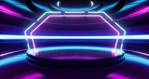La stanza straniera moderna futuristica Hall Glowing Blue Purple Neon di Sci Fi del fondo dell'astronave accende lo spettro vibra royalty illustrazione gratis