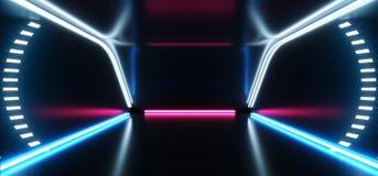 La stanza straniera moderna futuristica Hall Glowing Blue Purple Neon di Sci Fi del fondo dell'astronave accende lo spettro vibra illustrazione vettoriale
