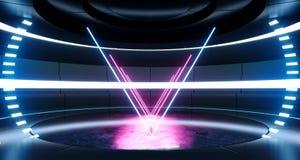 La stanza straniera moderna futuristica Hall Glowing Blue Purple Neon di Sci Fi del fondo dell'astronave accende lo spettro vibra illustrazione di stock