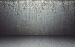 La stanza vuota con florr e luce e le ombre, 3d rendono l'illustrazione Fotografia Stock Libera da Diritti