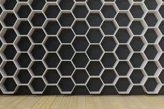 La stanza vuota con i pavimenti e la parete di legno con l'esagono accantona sulla parete, la rappresentazione 3D Fotografie Stock Libere da Diritti