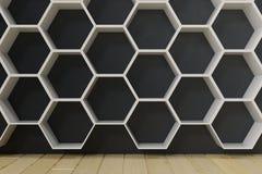 La stanza vuota con i pavimenti e la parete di legno con l'esagono accantona sulla parete rappresentazione 3d Fotografia Stock Libera da Diritti