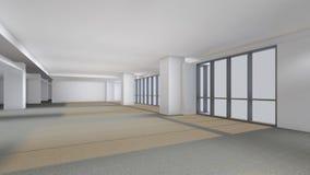 La stanza vuota moderna, 3d rende l'interior design, derisione sul illustrati Fotografia Stock Libera da Diritti