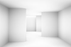 La stanza vuota semplice bianca astratta evidenzia il futuro Il fondo architettonico ci usa contesto illustrazione 3D e Immagini Stock