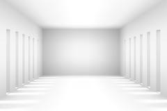 La stanza vuota semplice bianca astratta evidenzia il futuro Il fondo architettonico ci usa contesto illustrazione 3D e Immagine Stock Libera da Diritti
