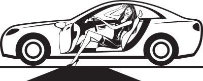 La star de cinéma arrive à l'événement en la voiture illustration stock