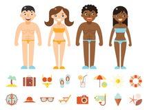 La station balnéaire hommes-femmes de couleur de caractères de vacances d'été accessoirisent le calibre plat de conception d'icôn Photographie stock libre de droits